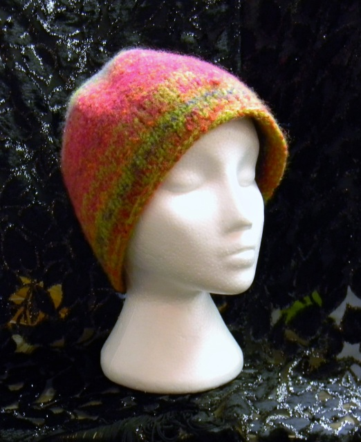 Bright Reds and Green Multicolored Beanie Style Hand Knit Felted Wool Hat  Hand Knit by Kathy Felker fd4d3d158a9
