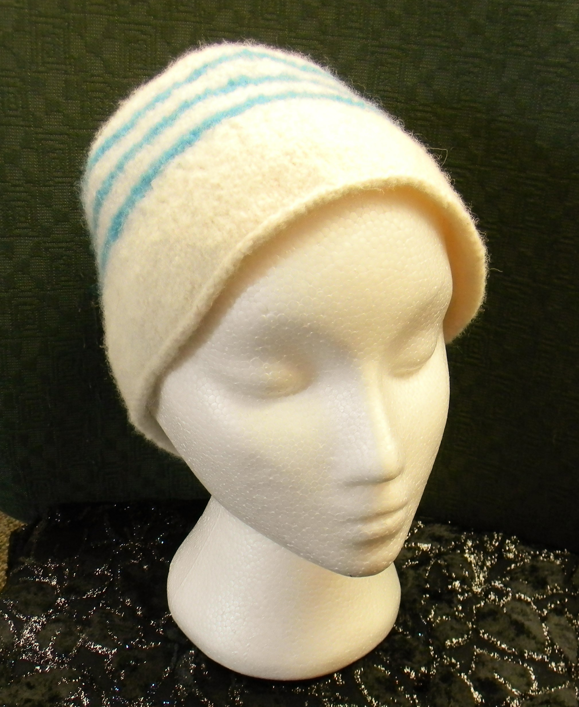 Cream and Turquoise Striped Felted Wool Beanie Style Hat Hand Knit by Kathy  Felker 0ee544f85d2